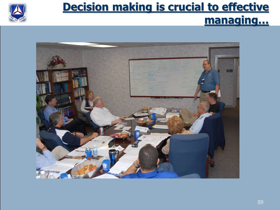 Decision making is crucial to effective managing… 89