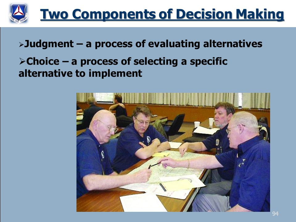 Two Components of Decision Making  Judgment – a process of evaluating alternatives  Choice – a process of selecting a specific alternative to implem