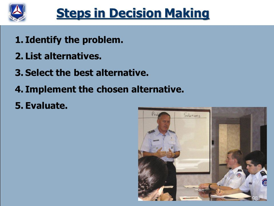 Steps in Decision Making 1.Identify the problem. 2.List alternatives. 3.Select the best alternative. 4.Implement the chosen alternative. 5.Evaluate. 9