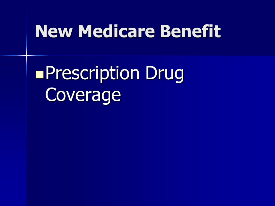 New Medicare Benefit Prescription Drug Coverage Prescription Drug Coverage