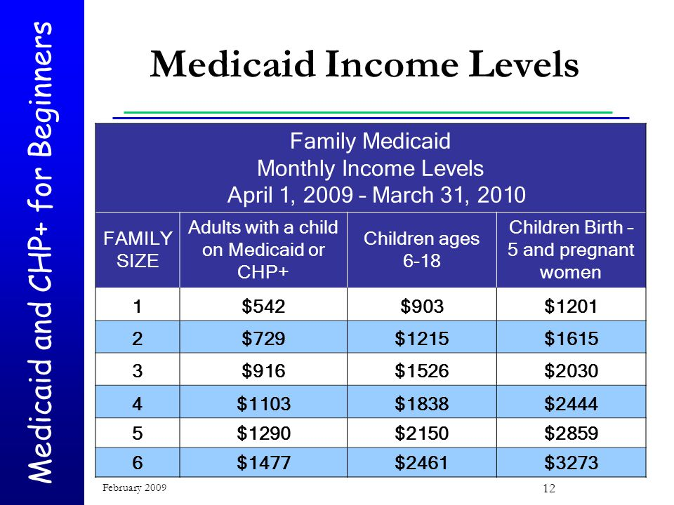 Medicaid and CHP+ for Beginners February 2009 12 Medicaid Income Levels Family Medicaid Monthly Income Levels April 1, 2009 – March 31, 2010 FAMILY SIZE Adults with a child on Medicaid or CHP+ Children ages 6-18 Children Birth – 5 and pregnant women 1$542$903$1201 2$729$1215$1615 3$916$1526$2030 4$1103$1838$2444 5$1290$2150$2859 6$1477$2461$3273