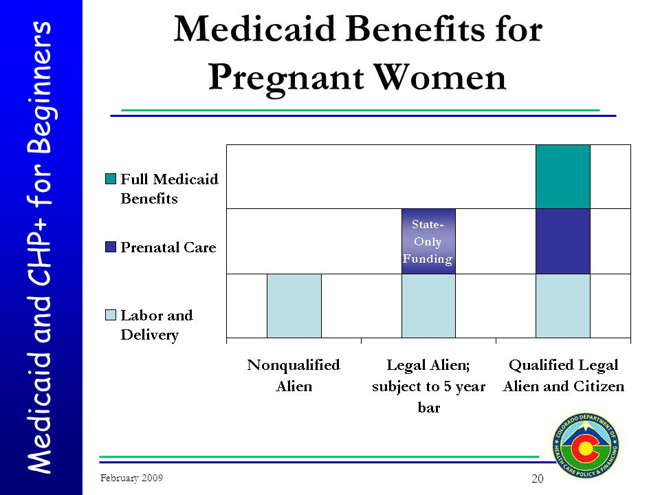 Medicaid and CHP+ for Beginners February 2009 20 Medicaid Benefits for Pregnant Women