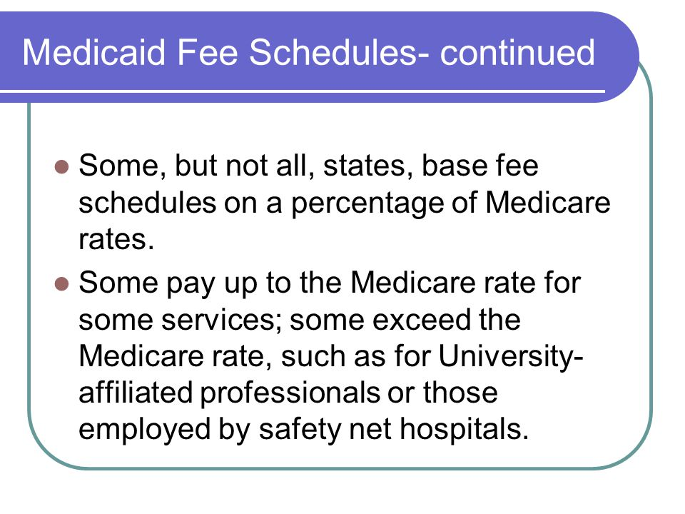 Medicaid Fee Schedules - continued Rates are often designed and adjusted to reflect state budget constraints.