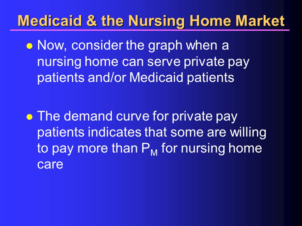 Medicaid & the Nursing Home Market l Now, consider the graph when a nursing home can serve private pay patients and/or Medicaid patients l The demand curve for private pay patients indicates that some are willing to pay more than P M for nursing home care