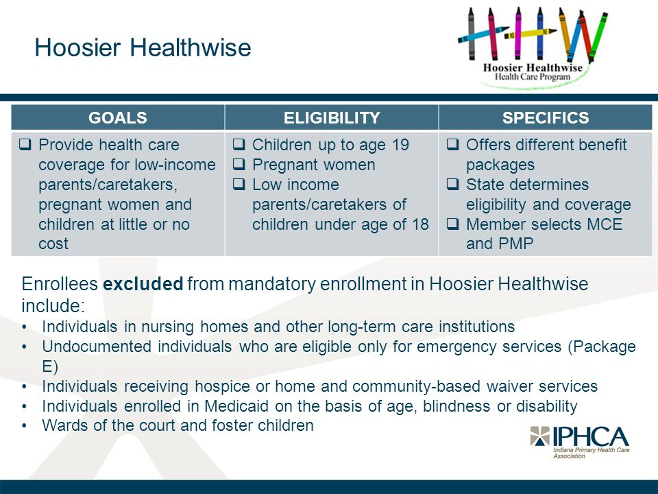 GOALSELIGIBILITYSPECIFICS  Provide health care coverage for low-income parents/caretakers, pregnant women and children at little or no cost  Childre