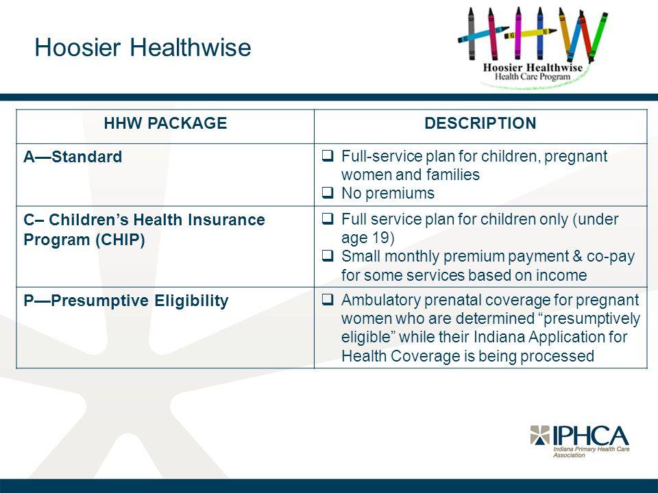 Hoosier Healthwise HHW PACKAGEDESCRIPTION A—Standard  Full-service plan for children, pregnant women and families  No premiums C– Children's Health