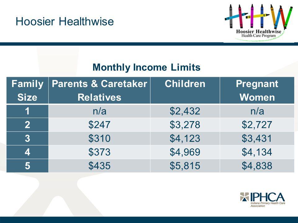 Hoosier Healthwise Family Size Parents & Caretaker Relatives Children Pregnant Women 1n/a$2,432n/a 2$247$3,278$2,727 3$310$4,123$3,431 4$373$4,969$4,1