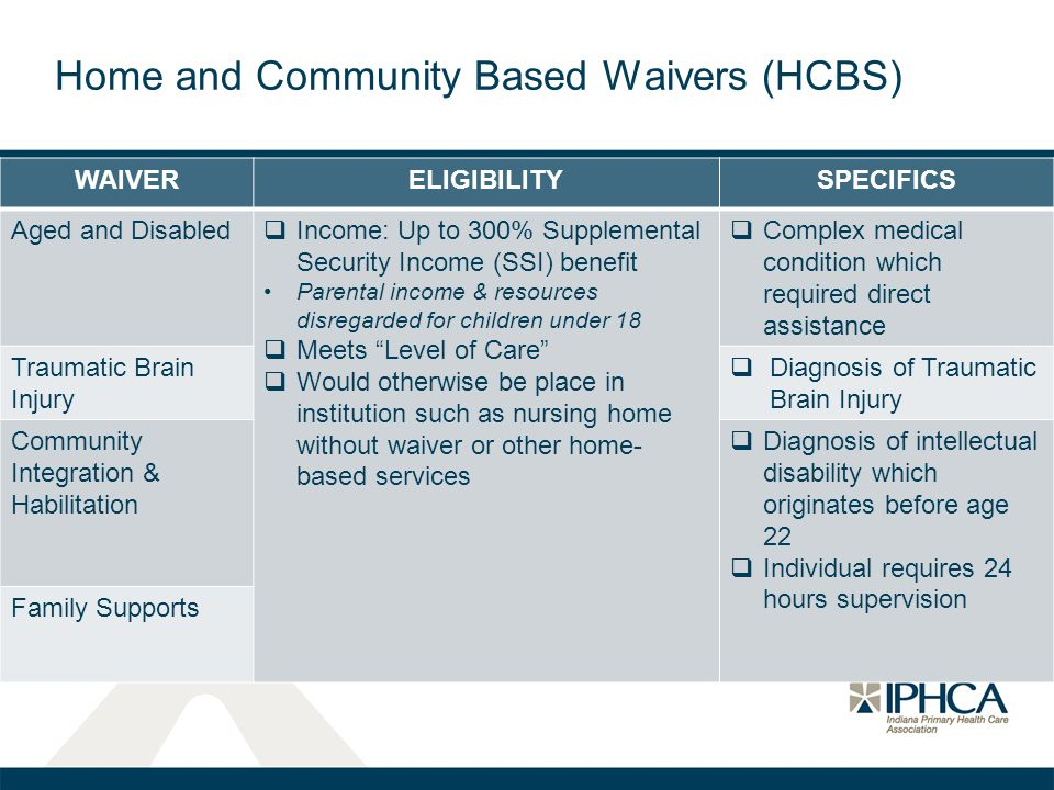 WAIVERELIGIBILITYSPECIFICS Aged and Disabled  Income: Up to 300% Supplemental Security Income (SSI) benefit Parental income & resources disregarded f