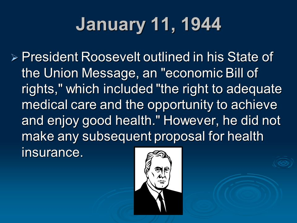 January 11, 1944  President Roosevelt outlined in his State of the Union Message, an