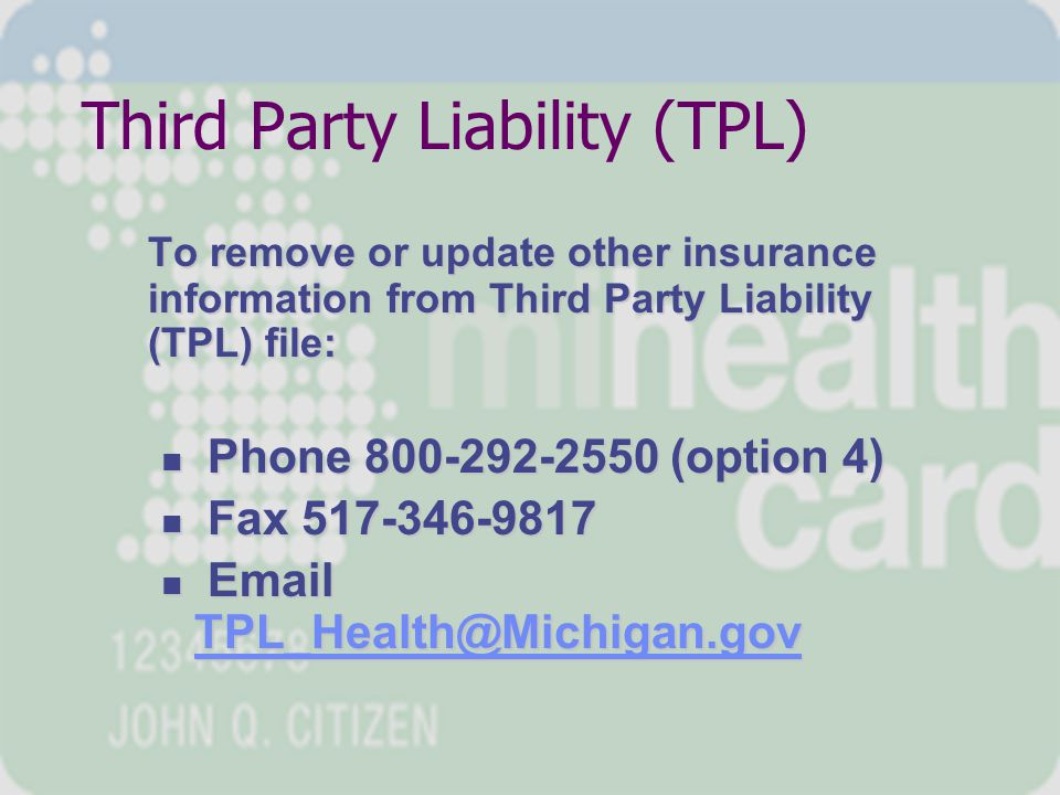 Eligibility Policies Beneficiary Eligibility Chapter, Medicaid Provider Manual (Eligibility Code Descriptions) Adult Benefits Waiver Chapter, Medicaid Provider Manual (Coverages and Limitations) Children's Special Health Care Services Program Chapter, Medicaid Provider Manual Medicaid Health Plans, Medicaid Provider Manual (HMO responsibilities) MI CHILD – www.michigan.gov/mdch >> Health Care Coverage >> Children and Teens (NOT MEDICAID)www.michigan.gov/mdch Third Party Liability (TPL) at MDCH Medicare Buy-In Unit at MDCH