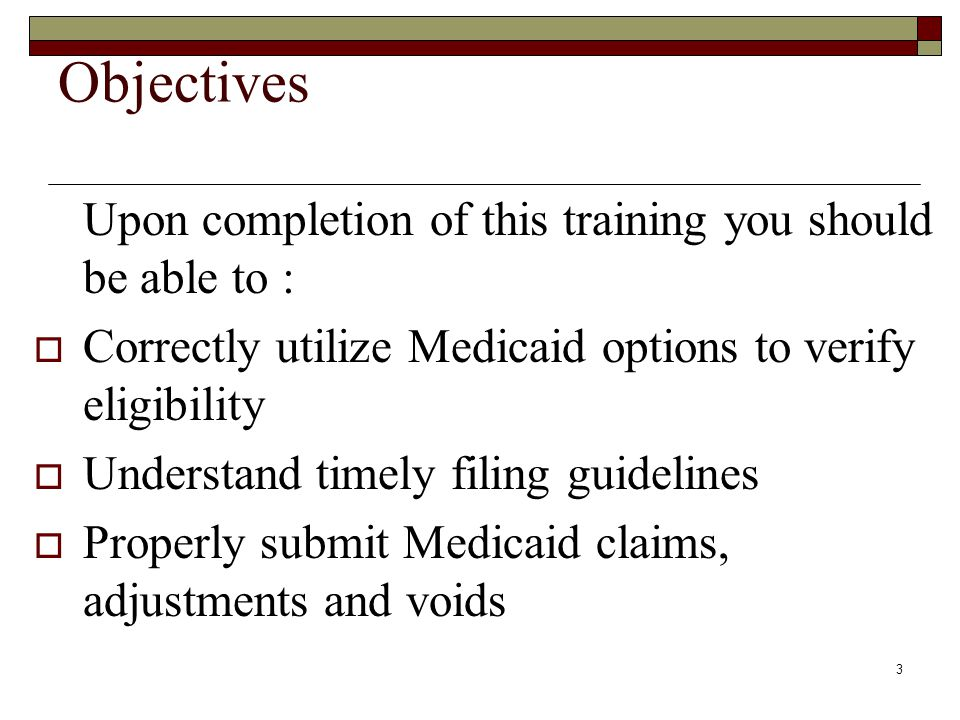 2 This presentation is to facilitate training of the subject matter in Chapter V of the Virginia Medicaid.