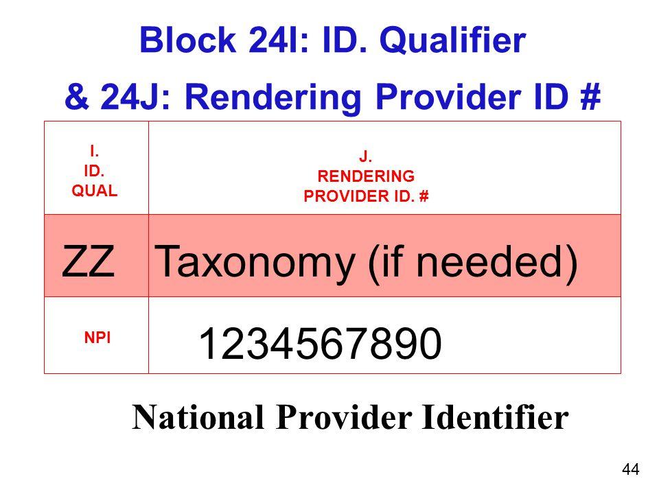 Block 24I: ID. Qualifier & 24J: Rendering Provider ID # I.
