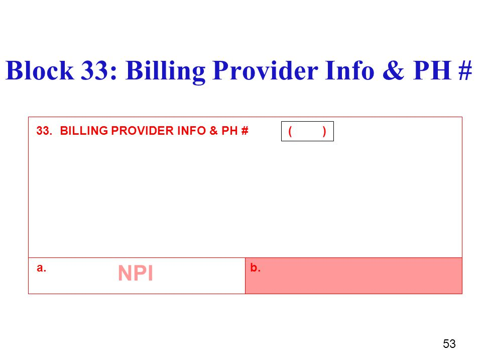 52 Billing Provider Info & PH #-Block-33a-b  Enter the 10 digit NPI number of the service location in 33a.