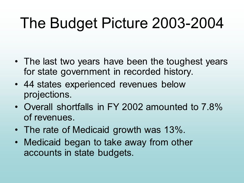 The Budget Picture 2003-2004 The last two years have been the toughest years for state government in recorded history. 44 states experienced revenues