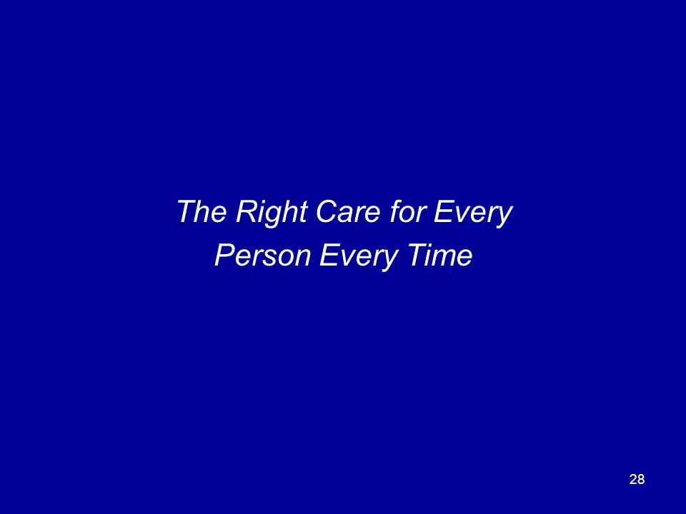 28 The Right Care for Every Person Every Time