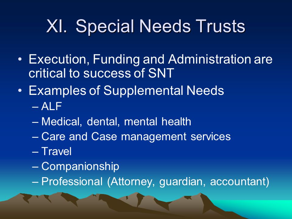 XI.Special Needs Trusts Execution, Funding and Administration are critical to success of SNT Examples of Supplemental Needs –ALF –Medical, dental, men