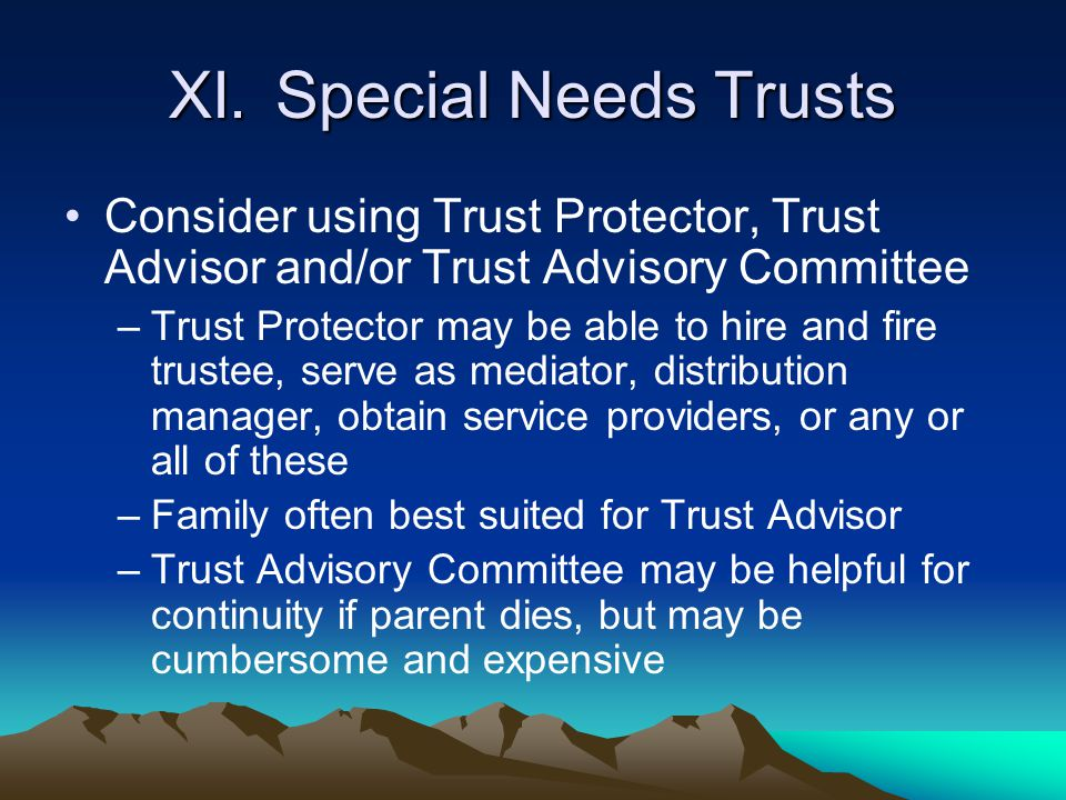 XI.Special Needs Trusts Consider using Trust Protector, Trust Advisor and/or Trust Advisory Committee –Trust Protector may be able to hire and fire tr