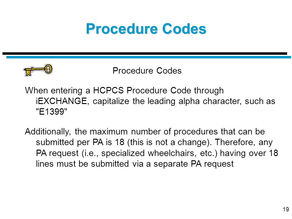 19 Procedure Codes When entering a HCPCS Procedure Code through iEXCHANGE, capitalize the leading alpha character, such as E1399 Additionally, the maximum number of procedures that can be submitted per PA is 18 (this is not a change).