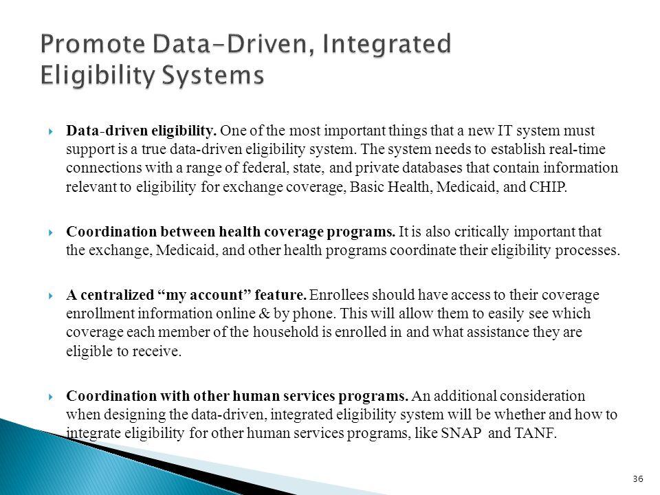  Data-driven eligibility.