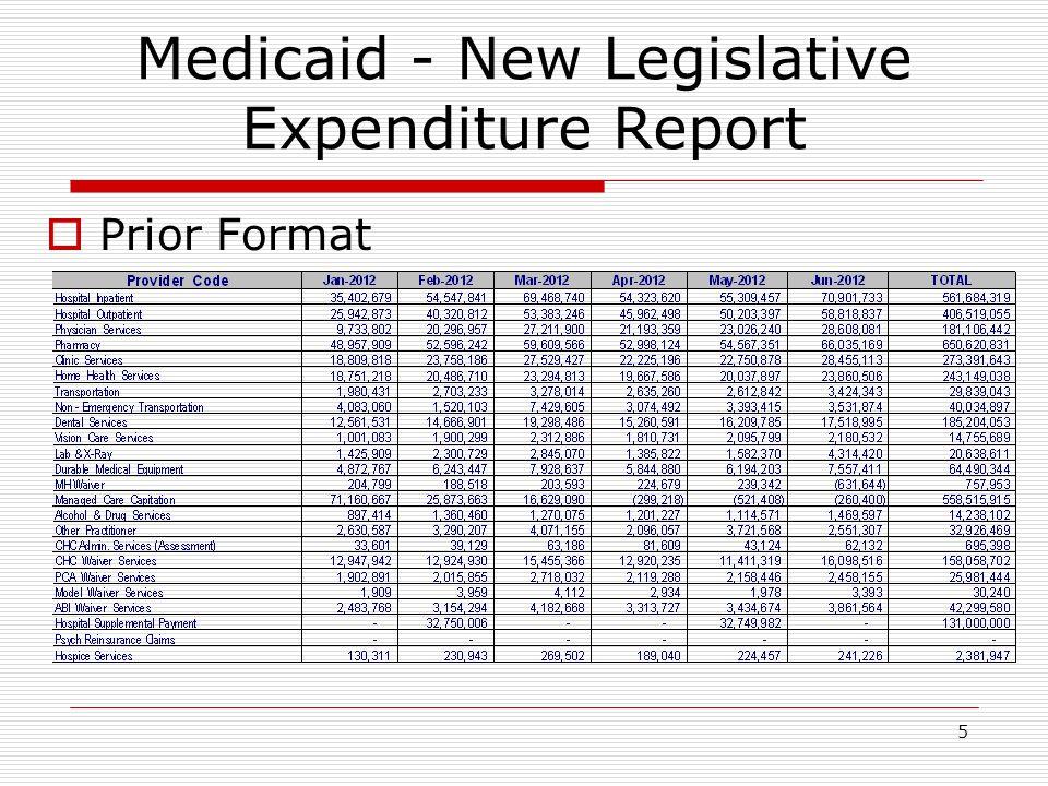 5 Medicaid - New Legislative Expenditure Report  Prior Format