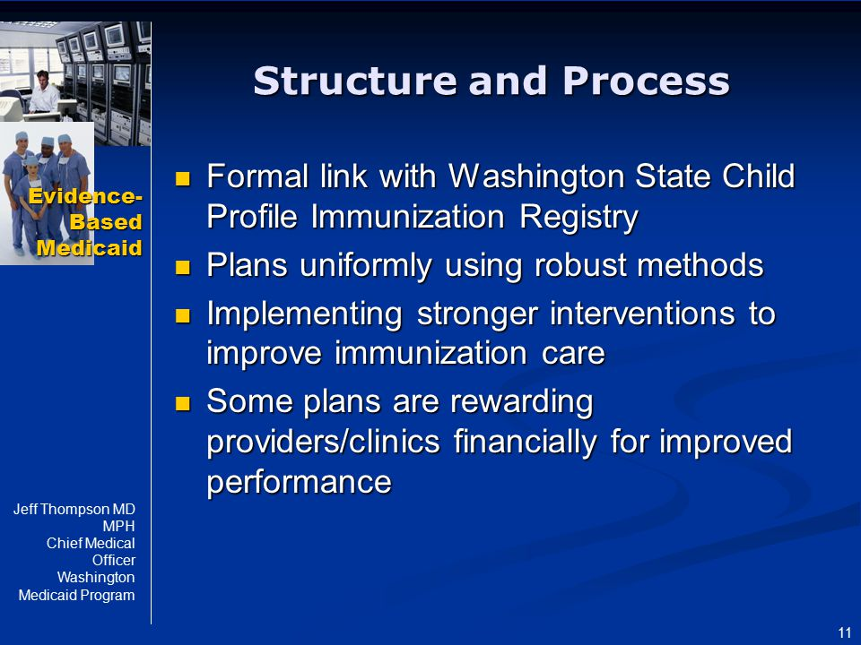 Evidence- Based Medicaid Jeff Thompson MD MPH Chief Medical Officer Washington Medicaid Program 11 Structure and Process Formal link with Washington S