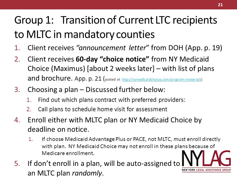 "Group 1: Transition of Current LTC recipients to MLTC in mandatory counties 1.Client receives ""announcement letter"" from DOH (App. p. 19) 2.Client rec"