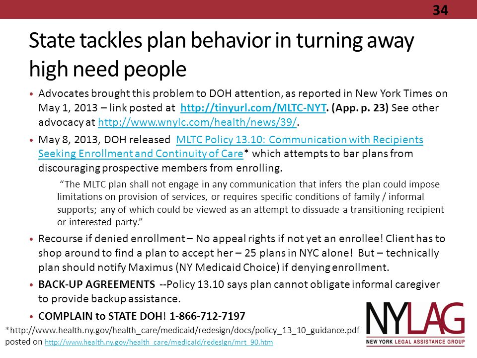 State tackles plan behavior in turning away high need people Advocates brought this problem to DOH attention, as reported in New York Times on May 1,