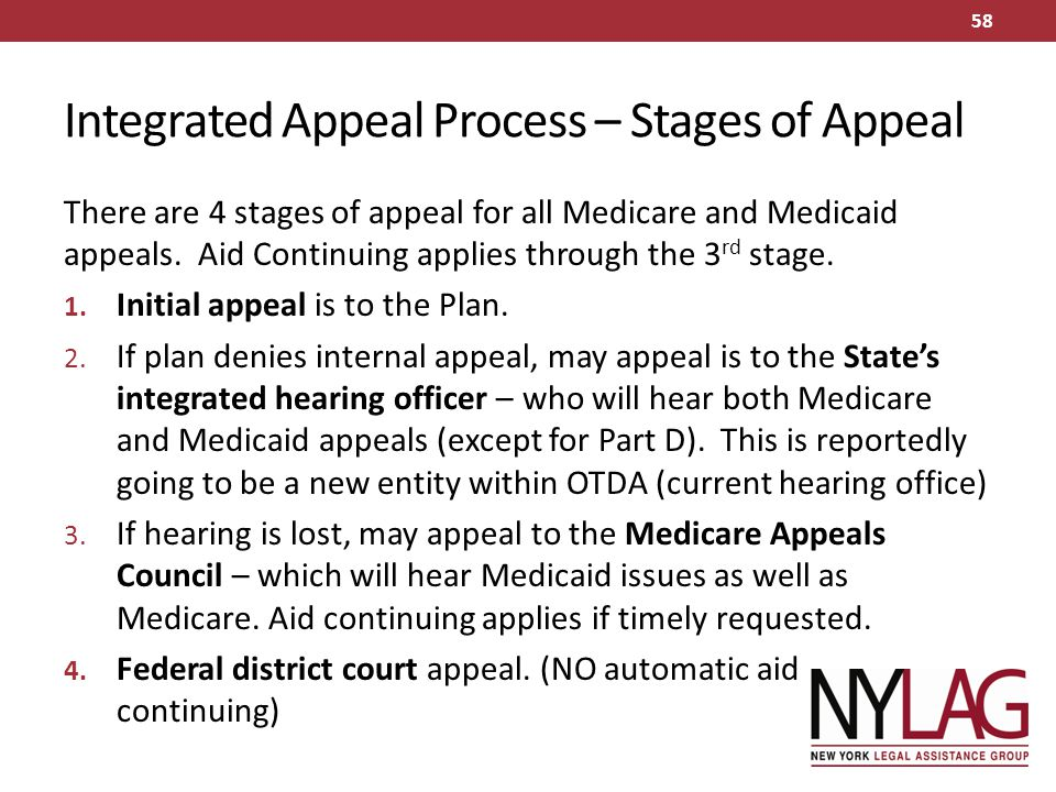 Integrated Appeal Process – Stages of Appeal There are 4 stages of appeal for all Medicare and Medicaid appeals. Aid Continuing applies through the 3