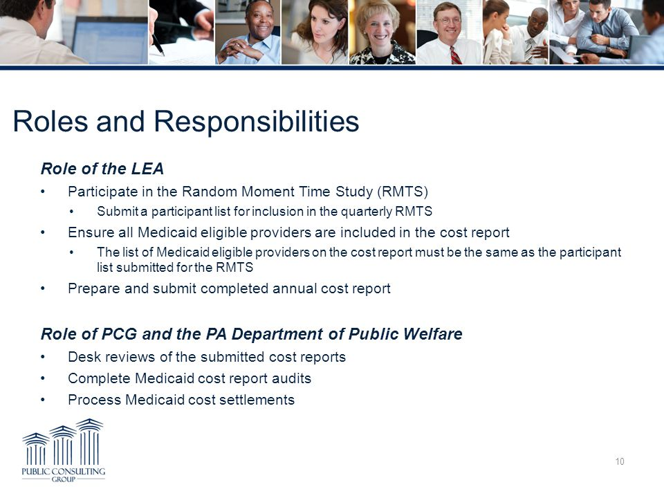 Role of the LEA Participate in the Random Moment Time Study (RMTS) Submit a participant list for inclusion in the quarterly RMTS Ensure all Medicaid e