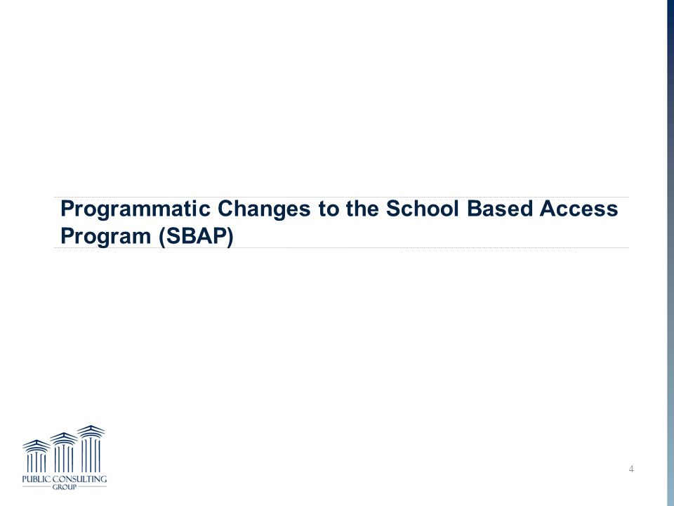 Programmatic Changes to the School Based Access Program (SBAP) 4