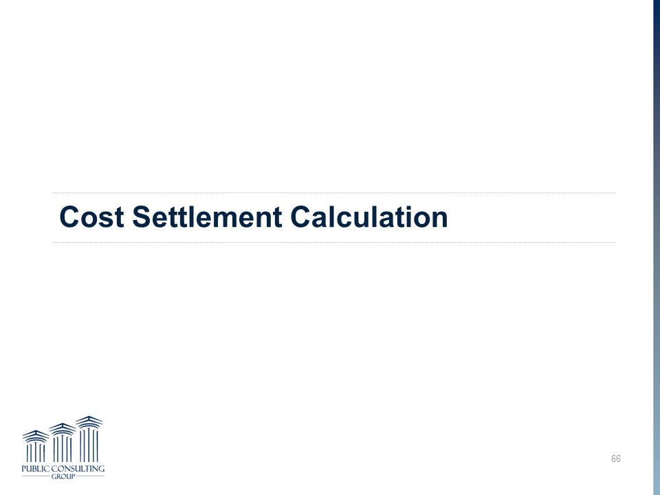 Cost Settlement Calculation 66