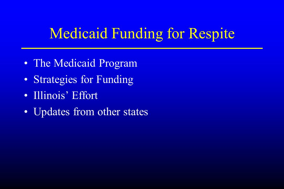 Medicaid Funding for Respite The Medicaid Program Strategies for Funding Illinois' Effort Updates from other states