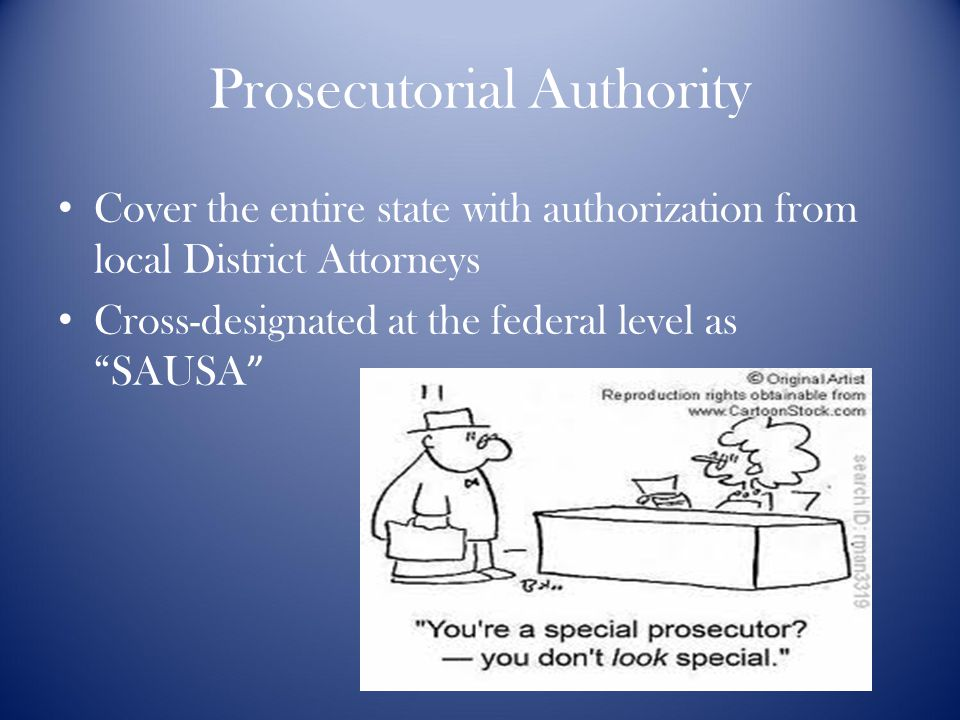 Prosecutorial Authority Cover the entire state with authorization from local District Attorneys Cross-designated at the federal level as SAUSA