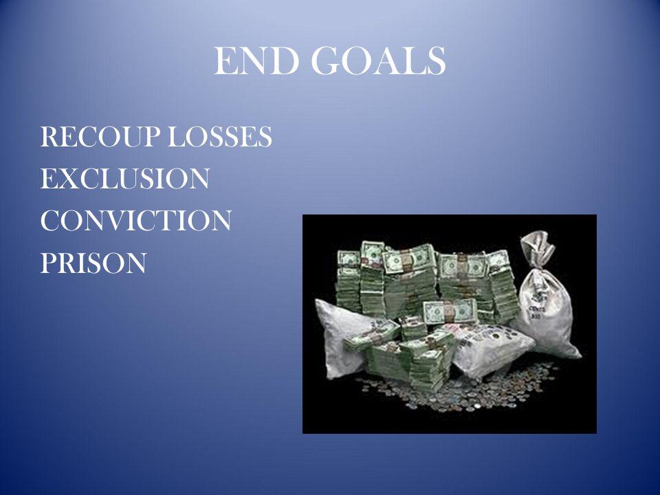 END GOALS RECOUP LOSSES EXCLUSION CONVICTION PRISON