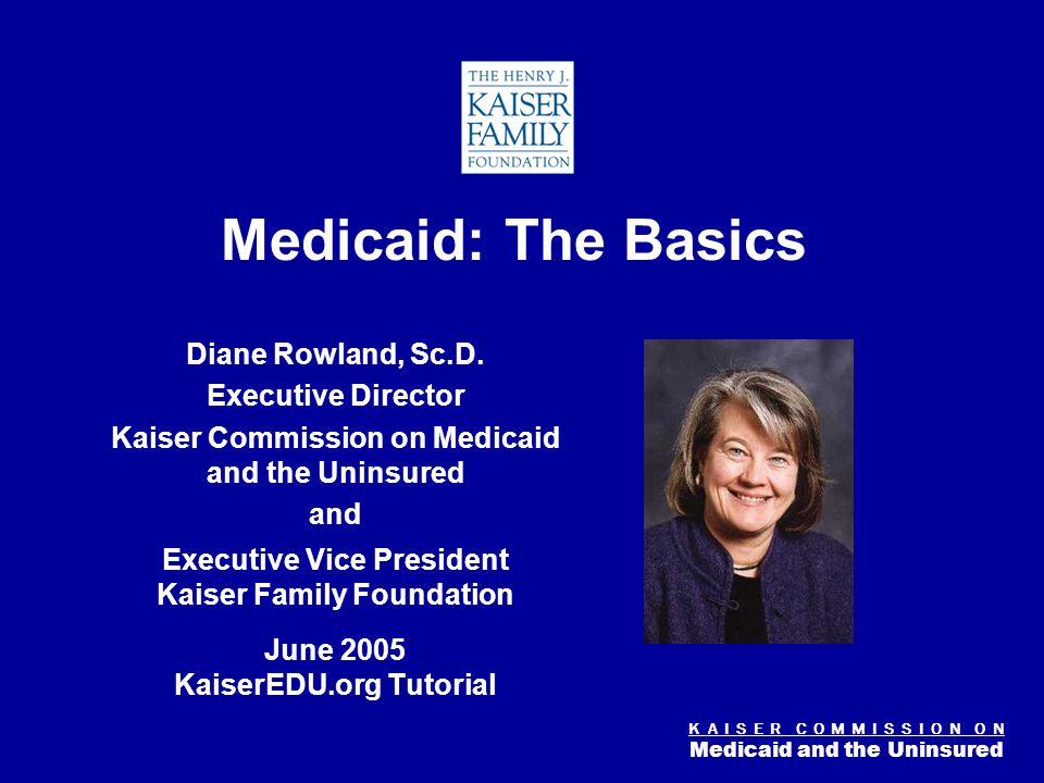 K A I S E R C O M M I S S I O N O N Medicaid and the Uninsured Figure 0 Medicaid: The Basics Diane Rowland, Sc.D.