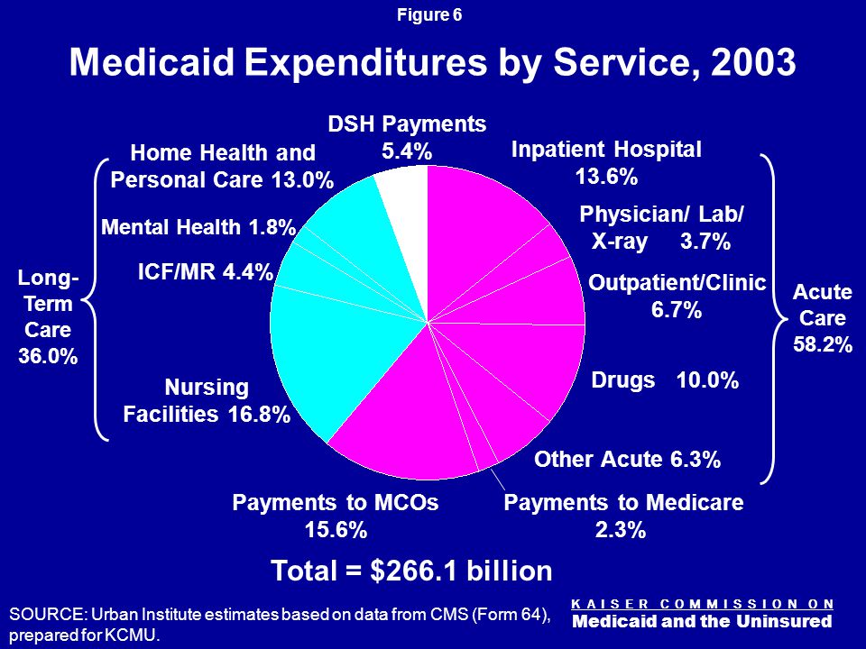 K A I S E R C O M M I S S I O N O N Medicaid and the Uninsured Figure 6 Medicaid Expenditures by Service, 2003 Total = $266.1 billion SOURCE: Urban Institute estimates based on data from CMS (Form 64), prepared for KCMU.
