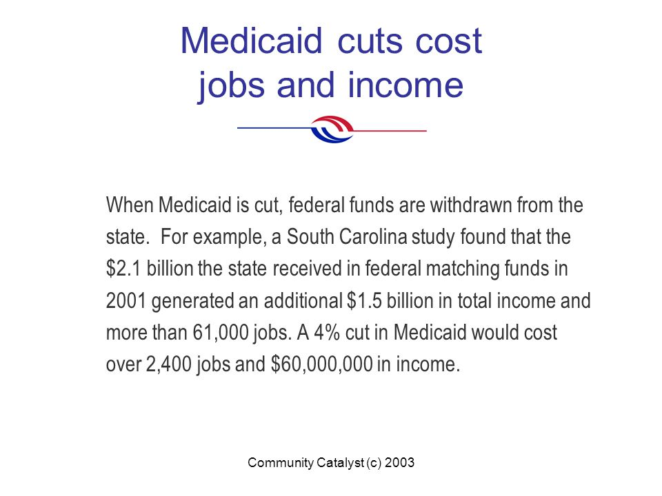 Community Catalyst (c) 2003 Medicaid cuts cost jobs and income When Medicaid is cut, federal funds are withdrawn from the state.