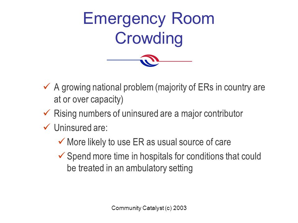 Community Catalyst (c) 2003 Emergency Room Crowding A growing national problem (majority of ERs in country are at or over capacity) Rising numbers of uninsured are a major contributor Uninsured are: More likely to use ER as usual source of care Spend more time in hospitals for conditions that could be treated in an ambulatory setting