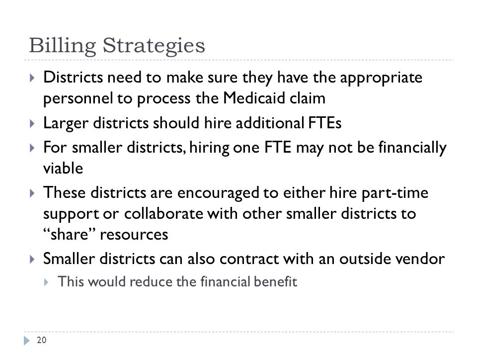 Billing Strategies  Districts need to make sure they have the appropriate personnel to process the Medicaid claim  Larger districts should hire additional FTEs  For smaller districts, hiring one FTE may not be financially viable  These districts are encouraged to either hire part-time support or collaborate with other smaller districts to share resources  Smaller districts can also contract with an outside vendor  This would reduce the financial benefit 20
