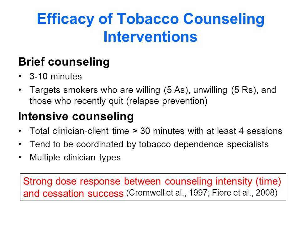 Efficacy of Tobacco Counseling Interventions Brief counseling 3-10 minutes Targets smokers who are willing (5 As), unwilling (5 Rs), and those who recently quit (relapse prevention) Intensive counseling Total clinician-client time > 30 minutes with at least 4 sessions Tend to be coordinated by tobacco dependence specialists Multiple clinician types (Cromwell et al., 1997; Fiore et al., 2008) Strong dose response between counseling intensity (time) and cessation success