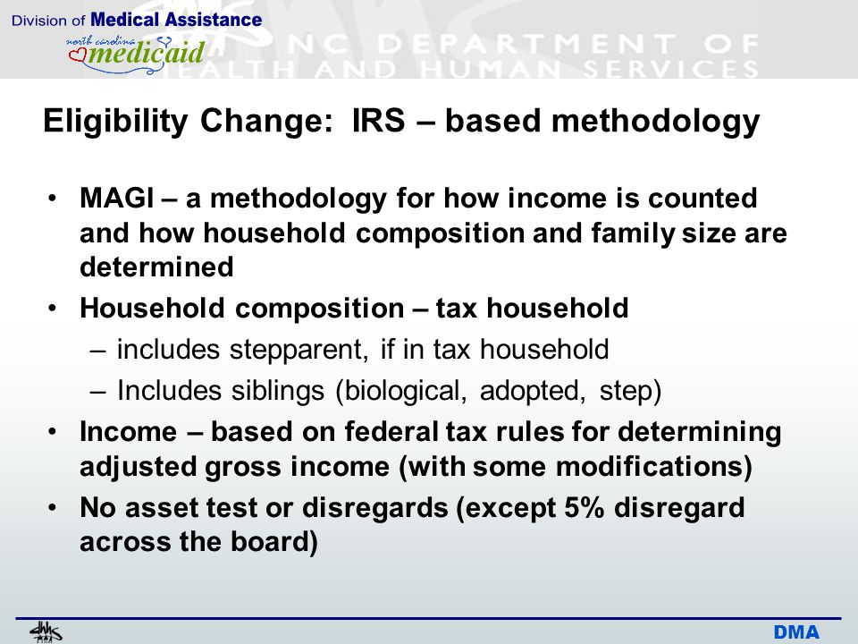DMA Eligibility Change: IRS – based methodology MAGI – a methodology for how income is counted and how household composition and family size are deter