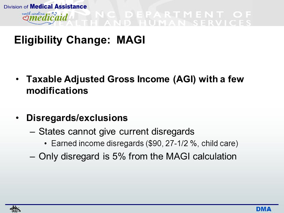 DMA Eligibility Change: MAGI Taxable Adjusted Gross Income (AGI) with a few modifications Disregards/exclusions –States cannot give current disregards