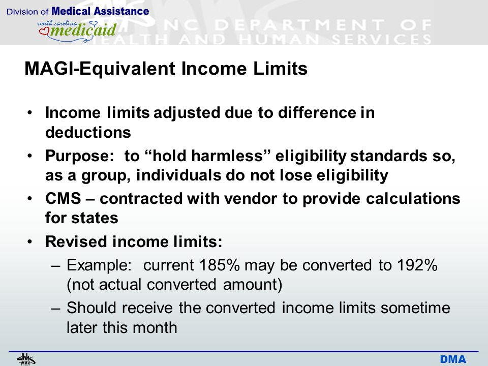 DMA MAGI-Equivalent Income Limits Income limits adjusted due to difference in deductions Purpose: to hold harmless eligibility standards so, as a group, individuals do not lose eligibility CMS – contracted with vendor to provide calculations for states Revised income limits: –Example: current 185% may be converted to 192% (not actual converted amount) –Should receive the converted income limits sometime later this month