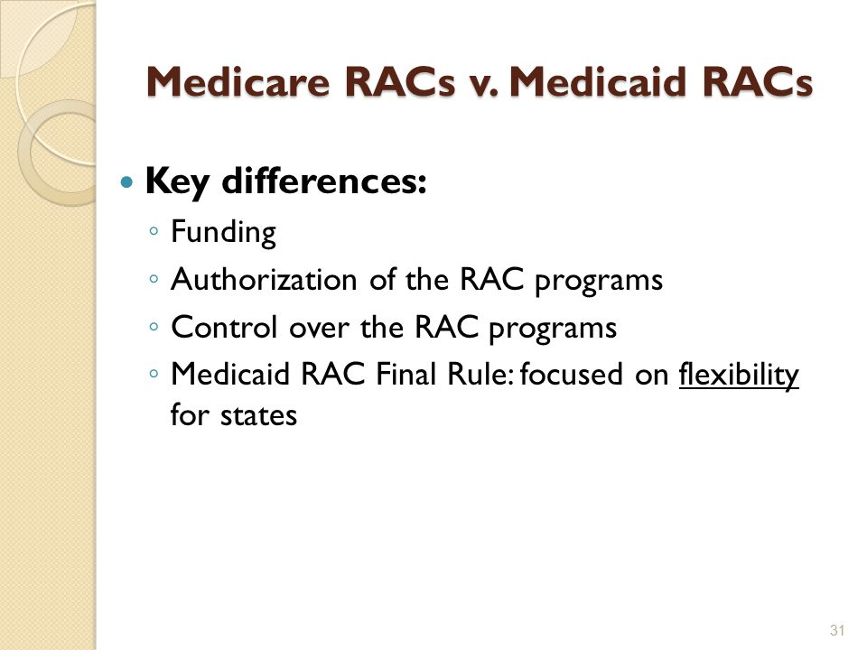 Medicare RACs v. Medicaid RACs Key differences: ◦ Funding ◦ Authorization of the RAC programs ◦ Control over the RAC programs ◦ Medicaid RAC Final Rul