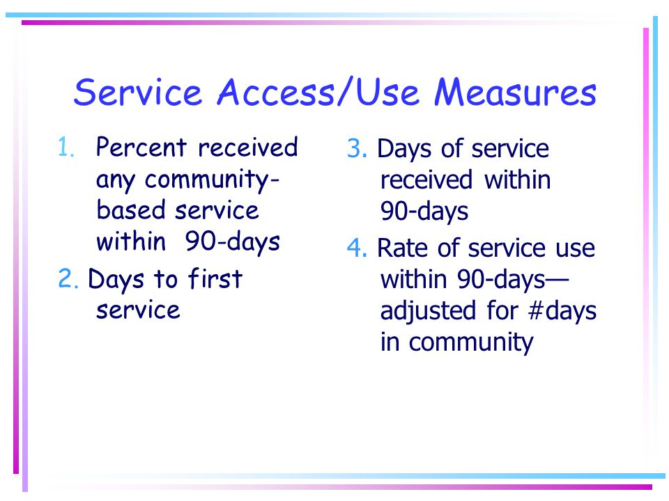 Service Access/Use Measures 1.Percent received any community- based service within 90-days 2.