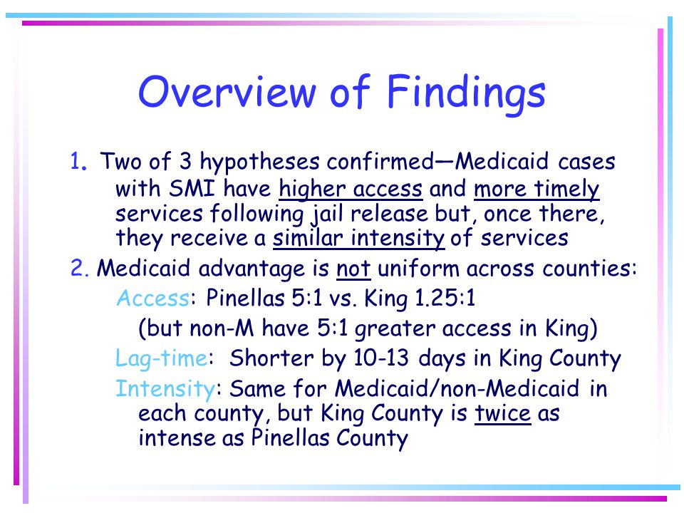 Overview of Findings 1.