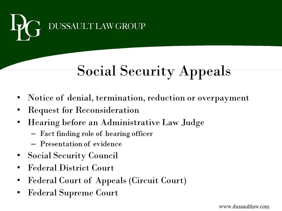 Social Security Appeals Notice of denial, termination, reduction or overpayment Request for Reconsideration Hearing before an Administrative Law Judge