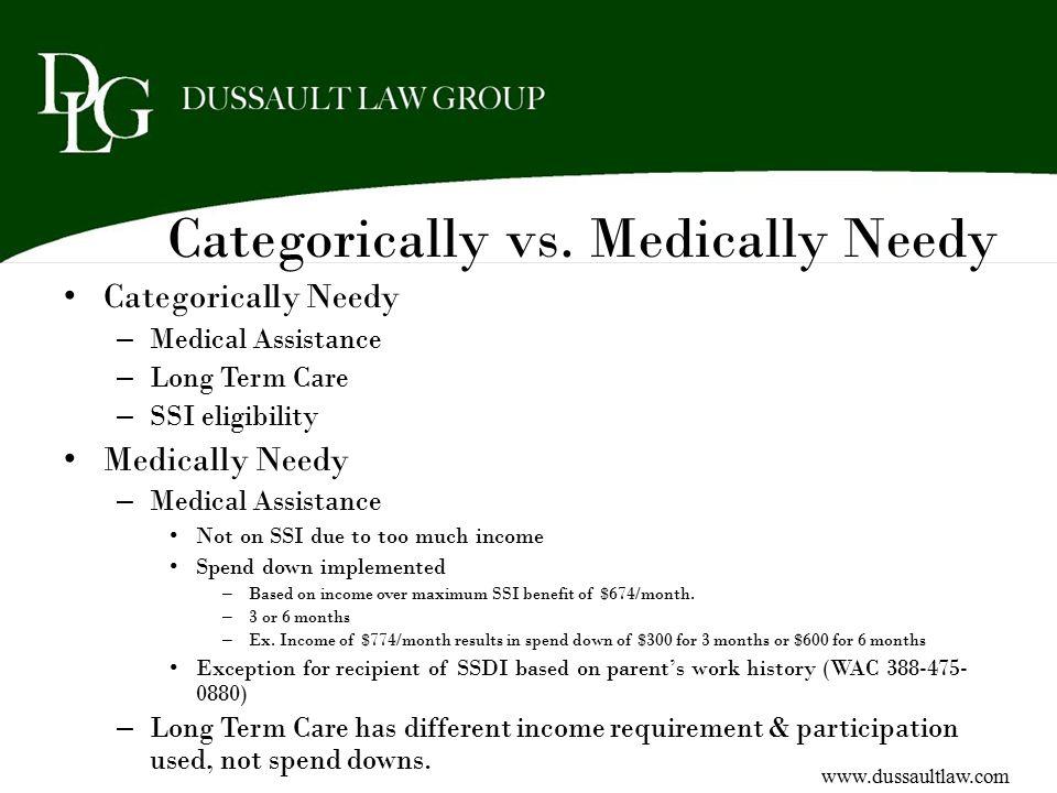 Categorically vs. Medically Needy Categorically Needy – Medical Assistance – Long Term Care – SSI eligibility Medically Needy – Medical Assistance Not