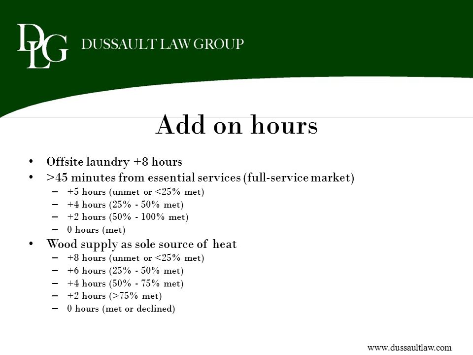 Add on hours Offsite laundry +8 hours >45 minutes from essential services (full-service market) – +5 hours (unmet or <25% met) – +4 hours (25% - 50% m