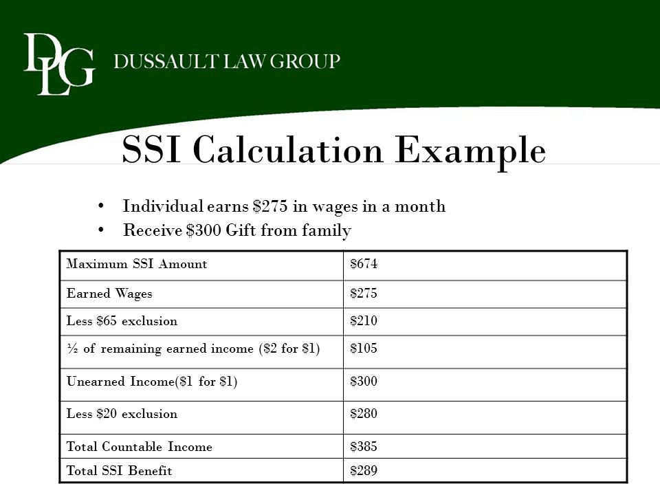 SSI Calculation Example Individual earns $275 in wages in a month Receive $300 Gift from family Maximum SSI Amount$674 Earned Wages$275 Less $65 exclu